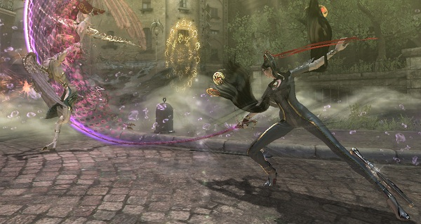 Bayonetta executing a special move against a boss