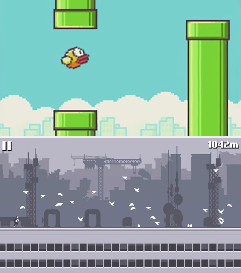 Screenshot of flappy birds bird flapping between pipes, and screenshot of canabalt man running through pigeons perched on a rooftop