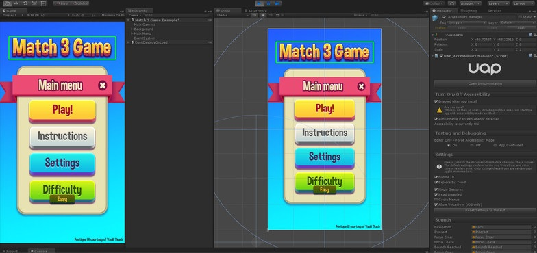 Game UI being edited in Unity, showing the UAP plugin panel open