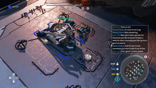 Halo Wars 2, with text/speech transcription overlay