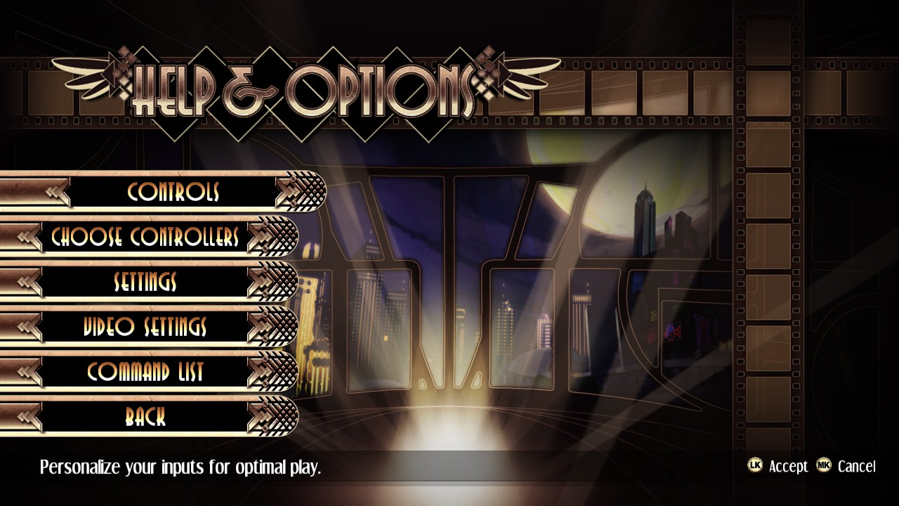 Skullgirls options screen, with controls menu item highlighted